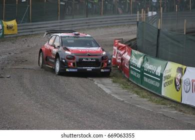 Mikolajki, Poland - 29 June 2017: Stephane Lefebvre and his codriver Gabin Moreau Citroen Total Abu Dhabi WRT in a Citroen C3 WRC race in the 74nd Rally Poland, on June 29, 2017 in Mikolajki, Poland.