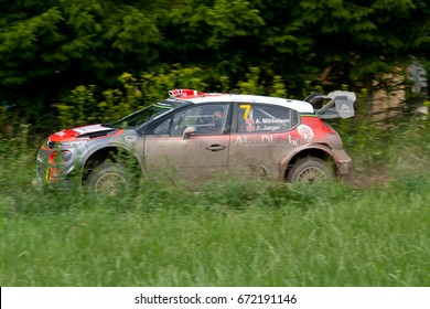 MIKOLAJKI, POLAND - JUL 1: Andreas Mikkelsen and his codriver Anders Jaeger in a Hyundai New Citroen C3 WRC race in the 74nd Rally Poland, on July 1, 2017 in Mikolajki, Poland.