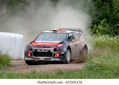 MIKOLAJKI, POLAND - JUL 1: Craig Breen and his codriver Scott Martin in a Citroen C3 WRC race in the 74nd Rally Poland, on July 1, 2017 in Mikolajki, Poland.