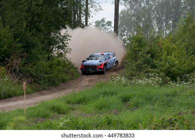 MIKOLAJKI, POLAND - JUL 1: Dani Sordo and his codriver Marc Marti in a Hyundai New Generation i20 WRC race in the 73nd Rally Poland, on July 1, 2016 in Mikolajki, Poland.