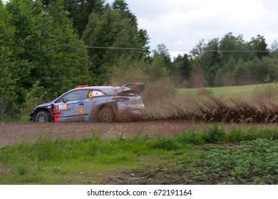 MIKOLAJKI, POLAND - JUL 1:  Dani Sordo and his codriver Marc Marti in Hyundai i20 Coupe WRC race in the 74nd Rally Poland, on July 1, 2017 in Mikolajki, Poland.