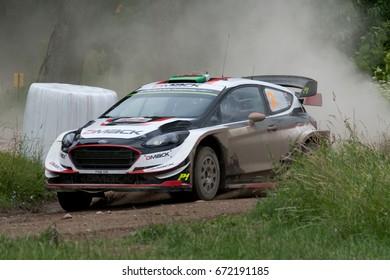 MIKOLAJKI, POLAND - JUL 1: Elfyn Evans and his codriver Daniel Barritt in Ford Fiesta WRC race in the 74nd Rally Poland, on July 1, 2017 in Mikolajki, Poland.