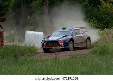 MIKOLAJKI, POLAND - JUL 1: Hayden Paddon and his codriver Sebastian Marshall in Hyundai i20 Coupe WRC race in the 74nd Rally Poland, on July 1, 2017 in Mikolajki, Poland.