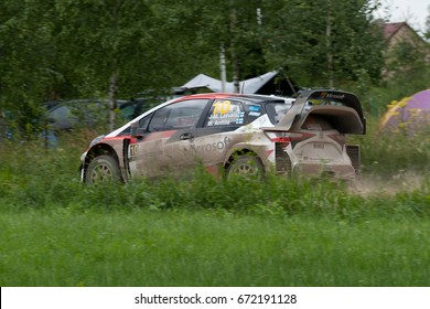 MIKOLAJKI, POLAND - JUL 1:  Jari-Matti Latvala and his codriver Miikka Anttila in Hyundai i20 Coupe WRC race in the 74nd Rally Poland, on July 1, 2017 in Mikolajki, Poland.