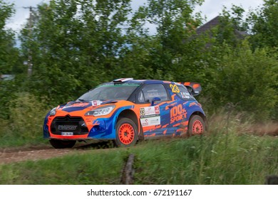MIKOLAJKI, POLAND - JUL 1:  Jean-Michel Raoux and his codriver Laurent Magat in Hyundai i20 Coupe WRC race in the 74nd Rally Poland, on July 1, 2017 in Mikolajki, Poland.