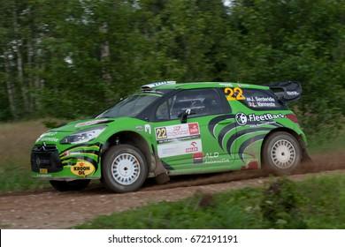 MIKOLAJKI, POLAND - JUL 1:  Jourdan Serderidis and his codriver Lara Vanneste in Citroen DS3 WRC race in the 74nd Rally Poland, on July 1, 2017 in Mikolajki, Poland.
