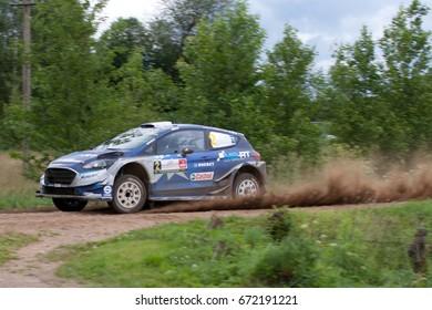 MIKOLAJKI, POLAND - JUL 1:  Ott Tanak and his codriver Martin Jarveoja in Ford Fiesta WRC race in the 74nd Rally Poland, on July 1, 2017 in Mikolajki, Poland.
