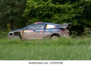 MIKOLAJKI, POLAND - JUL 1:  Sebastien Ogier and his codriver Julien Ingrassia  in Ford Fiesta WRC race in the 74nd Rally Poland, on July 1, 2017 in Mikolajki, Poland.