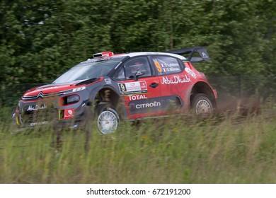 MIKOLAJKI, POLAND - JUL 1:  Stephane Lefebvre and his codriver Gabin Moreau in Ford Fiesta WRC race in the 74nd Rally Poland, on July 1, 2017 in Mikolajki, Poland.