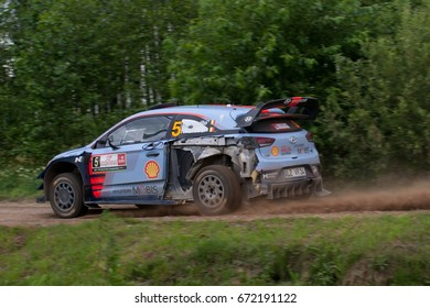 MIKOLAJKI, POLAND - JUL 1:  Thierry Neuville and his codriver Nicolas Gilsoul in Hyundai i20 Coupe WRC race in the 74nd Rally Poland, on July 1, 2017 in Mikolajki, Poland.