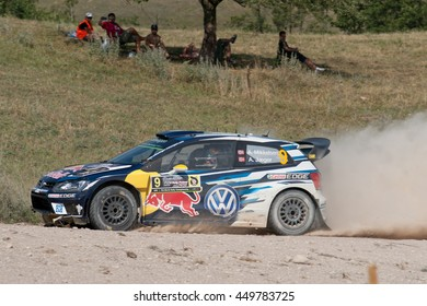 MIKOLAJKI, POLAND - JUL 2: Andreas Mikkelsen and his codriver Anders Jaeger Synnevaag in a Volkswagen Polo R WRC race in the 73nd Rally Poland, on July 2, 2016 in Mikolajki, Poland.