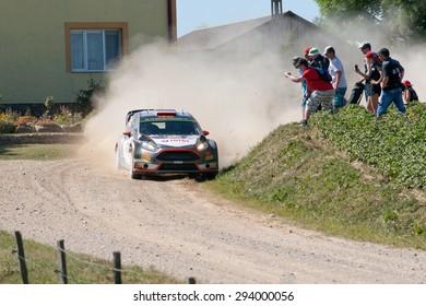 MIKOLAJKI, POLAND - JUL 3: Robert Kubica and his codriver Maciej Szczepaniak in a Ford Fiesta WRC race in the 72nd Rally Poland, on July 3, 2015 in Mikolajki, Poland.