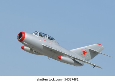 A Mikoyan-Gurevich MiG-15 two-seater jet fighter with Soviet markings. The MiG-15 was developed for the USSR  by Artem Mikoyan and Mikhail Gurevich.