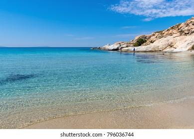 Mikri Vigla beach on Naxos island, one of the most beautiful beaches of the Aegean Sea. Cyclades, Greece