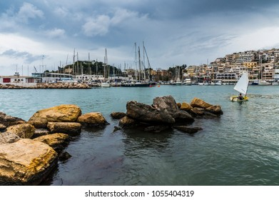 Mikrolimano port in Piraeus, Attica - Greece. Mikrolimano is now a tourist site and is included in the wider neighborhood of Kastella. Scenic view of the port and the hilly neighborhood Kastella