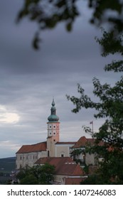 Mikulov castle / clock tower at the sunset with nice blue smooth sky , Mikulov south Moravia , Czech republic , summer autumn spring touristic destination - Snímek