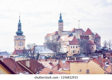 Mikulov castle, southern Moravia, Czech republic. Travel destination. Architectural scene. Beauty photo filter.