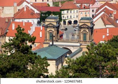 MIKULOV, CZEC REPUBLIC - July 14, 2018: View of Mikulov and Dietrichstein tomb in Mikulov, Czech Republic