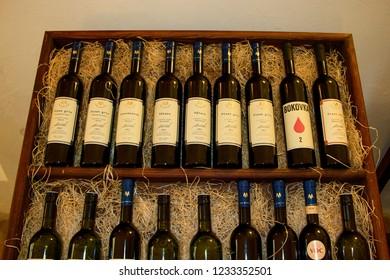 MIKULOV, CZECH REPUBLIC - July 13, 2018: Wine bottles displayed at winery in Mikulov