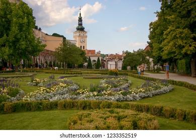 MIKULOV, CZECH REPUBLIC - July 13, 2018: Mikulov Castle and  Church of St. Wenceslas in the town of Mikulov in South Moravia, Czech Republic