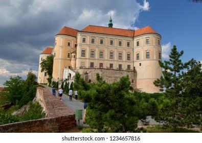 MIKULOV, CZECH REPUBLIC - July 13, 2018: Mikulov Castle in the town of Mikulov in South Moravia, Czech Republic