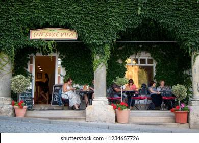 MIKULOV, CZECH REPUBLIC - July 14, 2018: View of coffee house in Mikulov, Czech Republic