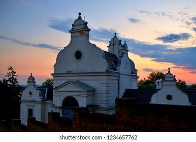 MIKULOV, CZECH REPUBLIC - July 14, 2018: Jewish Cemetery at sunset in Mikulov, Czech Republic