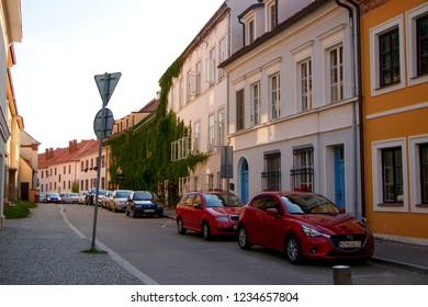 MIKULOV, CZECH REPUBLIC - July 14, 2018: Husova Street in Mikulov city, Czech Republic