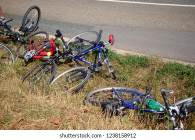 MIKULOV, CZECH REPUBLIC - July 14, 2018: Several bicycles thrown next to the road near Mikulov, Czech Republic