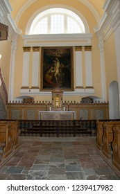 MIKULOV, CZECH REPUBLIC - July 15, 2018: Interior of St. Sebastian Chapel on the Holy Hill, Mikulov, Czech Republic