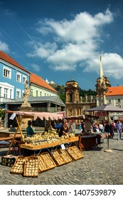 mikulov, czech republic, MAY 18, 2019, market on the main square of the old town of Mikulov, Bohemia