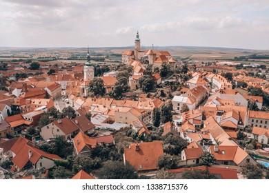 Mikulov, Czech Republic. Panorama of the historical medieval city center with Mikulov castle (Mikulov Chateau) on top of rock. Wine region, Moravia, Czech Republic