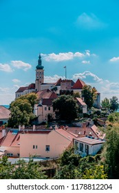 MIKULOV, CZECH REPUBLIC - SEPTEMBER 9, 2018: Picture of the castle of Mikulov on the hill.