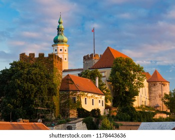 Mikulov, Czech Republic. View on historical medieval city center with Mikulov castle