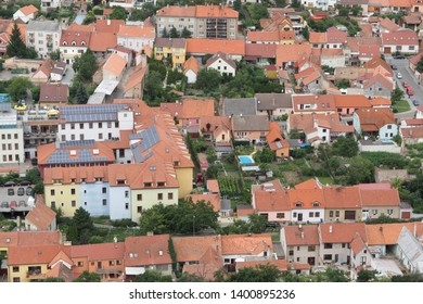 Mikulov, Czechia, February 15, 2017. The Small Town Houses From The Air. Free aerial photo of small city Mikulov in Czech republic (Moravia district).