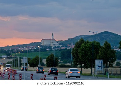 MIKULOV, CZEZCH REPUBLIC - JULY 17, 2014: View to town of Mikulov from border post on Czezh-Austria border