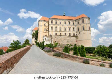 Mikulov, Moravia, Czech Republic - June 16, 2018: Mikulov castle (Nikolsburg) backyard view
