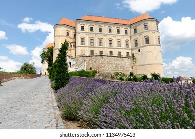 Mikulov, Moravia, Czech Republic - June 16, 2018: Mikulov castle (Nikolsburg) backyard view with the paved road and lavender growing by the road