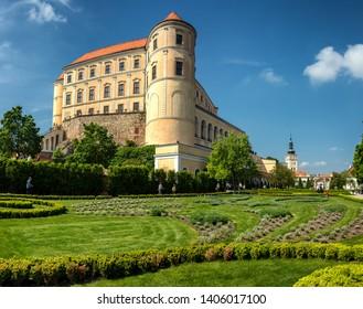 Mikulov, Moravia, Czech Republic - May 18, 2019: Mikulov castle (Nikolsburg) frontyard open to tourists