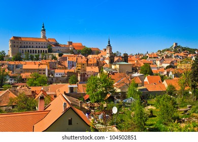 Mikulov (Nikolsburg) castle and town in South Moravia, Czech Republic