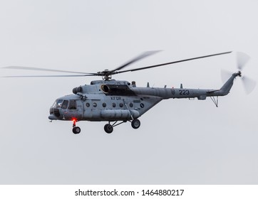 Mil Mi-171 Hip of the Croatian Air Force approaches Fairford for the 2016 Royal International Air Tattoo in England.
