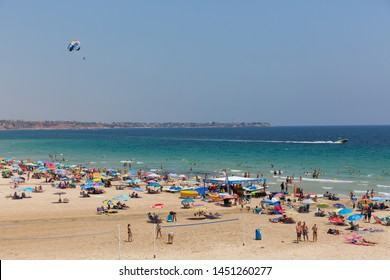 MIL PALMERAS, SPAIN-JULY 3rd 2019: Fine weather and calm sea made conditions perfect for parasailing at Mil Palmeras, Spain on Wednesday 3rd July 2019