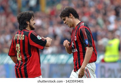 "Milan  Italy, 14 April 2006, ""SAN SIRO"" Stadium, Serious Football Championship A 2005/2006,  AC Milan - FC Inter: Gennaro Gattuso and Kaka during the match"