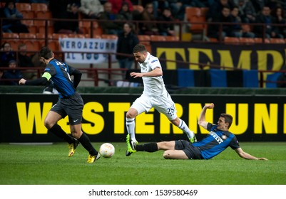 "Milan  Italy, 14 March 2013,"" G.Meazza - San Siro""  Stadium, UEFA Europa League 2012/2013 ,FC Inter - FC Tottenham : Kyle Walker,Mateo Kovacic and Javier Zanetti in action during the match"