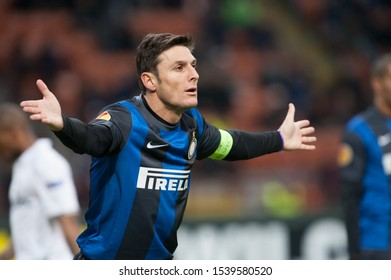 "Milan  Italy, 14 March 2013,"" G.Meazza - San Siro""  Stadium, UEFA Europa League 2012/2013 ,FC Inter - FC Tottenham : Javier Zanetti during the match"