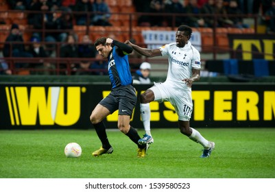 "Milan  Italy, 14 March 2013,"" G.Meazza - San Siro""  Stadium, UEFA Europa League 2012/2013 ,FC Inter - FC Tottenham : Javier Zanetti and Emmanuel Adebayor in action during the match"