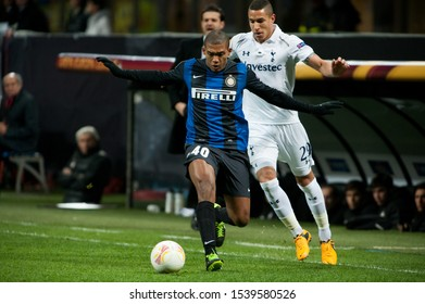 "Milan  Italy, 14 March 2013,"" G.Meazza - San Siro""  Stadium, UEFA Europa League 2012/2013 ,FC Inter - FC Tottenham : Juan Jesus and Jake Livermore in action during the match"