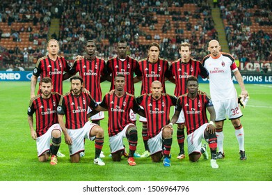"Milan  Italy, 18 September 2013 ,"" G.MEAZZA SAN SIRO""  Stadium, UEFA Champions League 2013/2014, AC Milan - FC Celtic : Milan Players before the match"