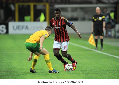 "Milan  Italy, 18 September 2013 ,"" G.MEAZZA SAN SIRO""  Stadium, UEFA Champions League 2013/2014, AC Milan - FC Celtic : Kevin Constant in action during the match"