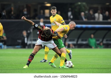 "Milan  Italy, 18 September 2013 ,"" G.MEAZZA SAN SIRO""  Stadium, UEFA Champions League 2013/2014, AC Milan - FC Celtic : Scott Brown and Alessandro Matri in action during the match"